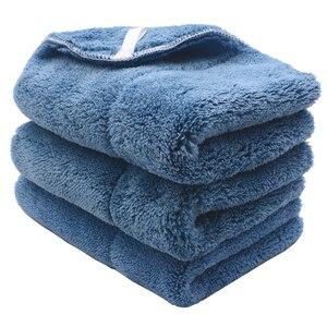 Image 2 - Chiffon de nettoyage de voiture en peluche, 3 pièces, 40cm x 30cm, 800g/m2, peluche Super épaisse, chiffon de nettoyage de voiture, lavage, cire, polissage, serviette de détail