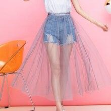 Mesh-Skirt Tulle Waist-Basic Ruffle Black White High-Street Summer England Elastic Gray