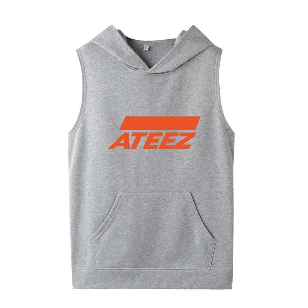 Kpop ATEEZ Naam Print Mouwloze Hooded Mannen Vrouwen Hoody Sweatshirt Fleece K-pop Streetwear Unisex Hoodies