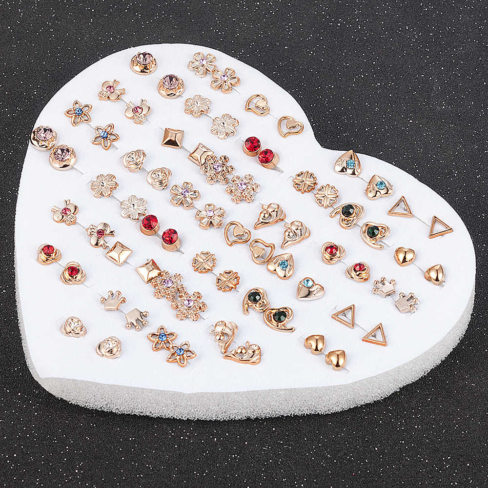 12 ~ 36 คู่แฟชั่นผู้หญิงหญิงเรซิ่นพลาสติกคริสตัล Diamante ดอกไม้ Stud ชุดต่างหูสุ่มสไตล์ทองเงิน