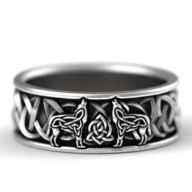 new S925 silver Nordic mythology giant wolf defense totem wolf domineering man ring