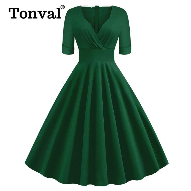 Tonval Green Solid Rockabilly 1950S Vintage Ruched V Neck Elegant Party Dress Women 2020 Summer Half Sleeve A Line Dresses