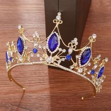 Blue Vintage Crystal Crown Tiara Bride Hair Ornaments Rhinestone Diadem For Women Bridal Crown Headband Wedding Hair Accessories цена и фото
