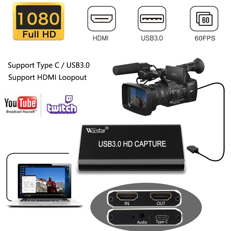 USB 3.0 Video Capture HDMI to Type-C USB 3.1 1080P HD Video Capture Card for TV PC PS4 Game Live Stream for Windows Linux Os X