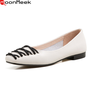 MoonMeek 2020 new fashion women flats genuine leather shallow single shoes flat heel square toe casual shoes black apricot