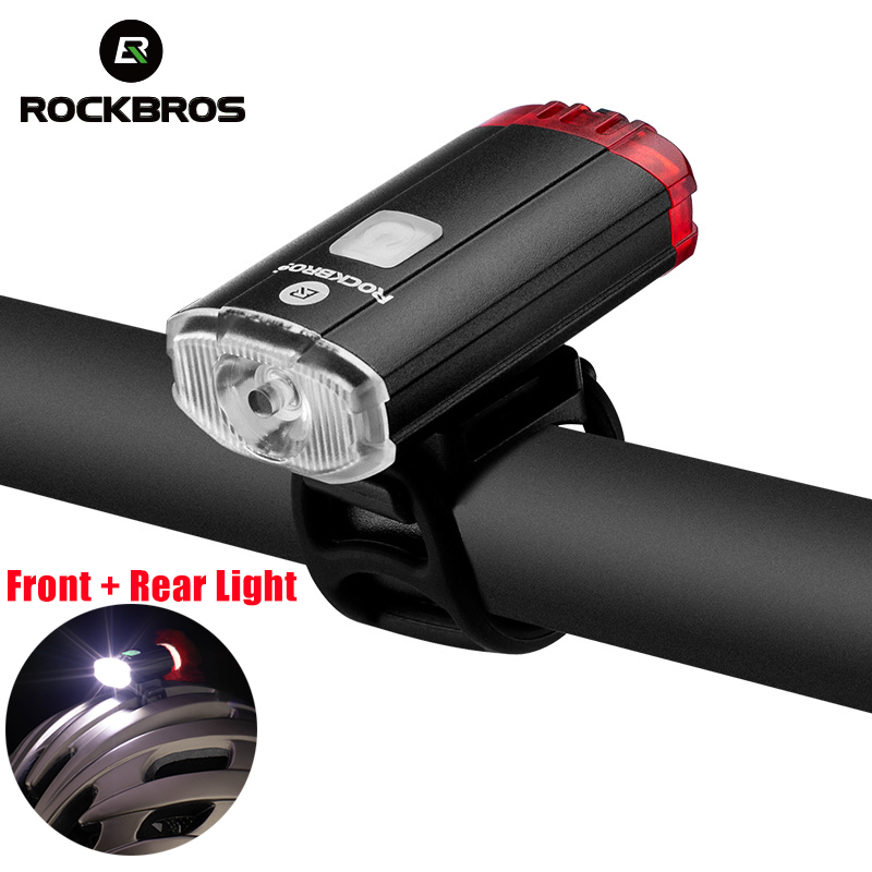 ROCKBROS Bike Light 100 Lm Bicycle Front Rear Light Lamp USB Charging Flashlight Bicycle Lantern Headlight Bicycle Accessories