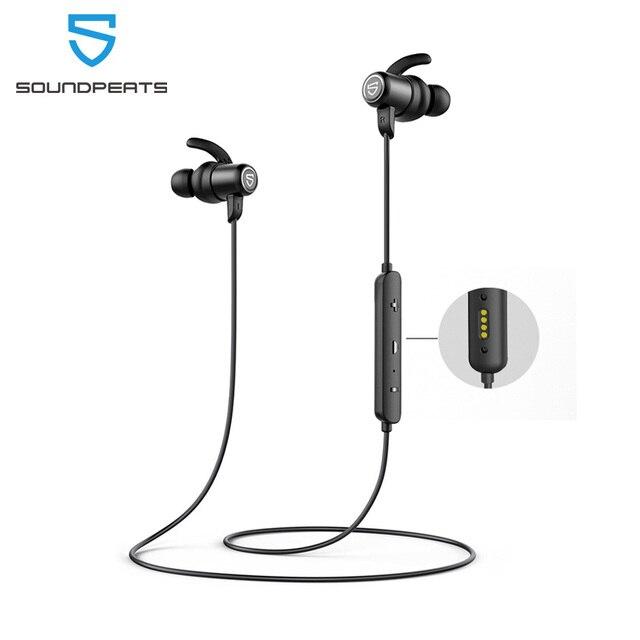 SounPEATS 블루투스 5.0 무선 이어폰 IPX8 방수 스포츠 이어폰, 자기 충전 APTX HD 14 시간 재생