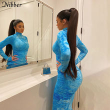 Nibber – robe midi colorée pour femmes, manches longues, moulante, tendance, bleue, haute qualité