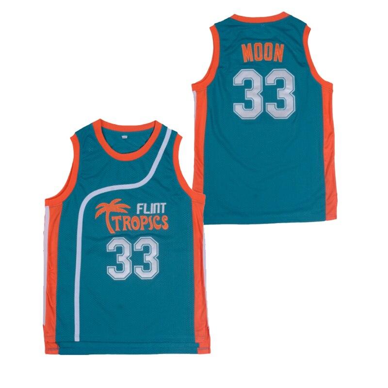 BG Basketball Jerseys Flint Tropics 33 Moon Embroidery Sewing Outdoor Sport Wear Movie Jersey Green White Summer Loose Hip Hop
