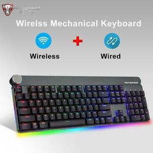 Motospeed gk81 teclado mecânico sem fio 2.4g duplo modo backlit rgb gaming teclados 104 teclas para computador russo gamer