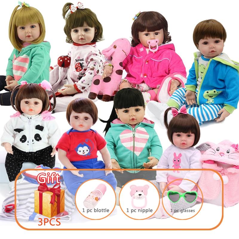 48cm NPK Silicone Reborn Baby Doll Lifelike Newborn Soft Silicon Dolls Handmade Toddlers Toys Gift For kids