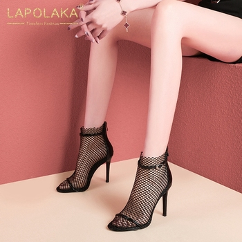 Lapolaka 2020 New Fashion Top Quality Mesh Thin High Heels Summer Sandals Woman Shoes Zip Up Party Shoes Women Sandals Female