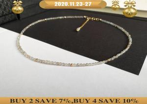 Image 1 - LiiJi collier ras du cou Unique, perles à facettes en Labradorite, collier avec fermoir en argent Sterling 925 de 40 50cm 16 20 pouces, cadeau pour mères