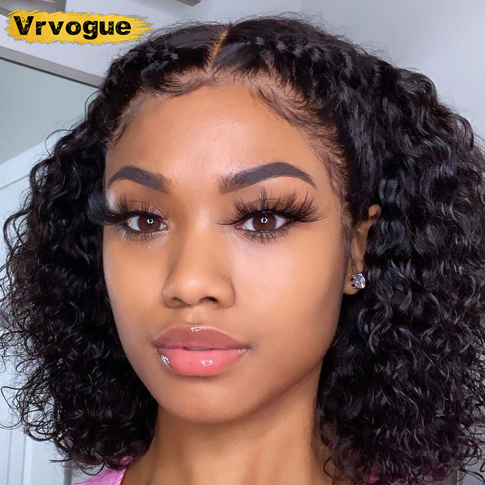 Bob Wig Human Hair Brazilian 4x4 Closure Wig Natural Hairline Kinky Curly Lace Wig Bleached Knots 150% Density Remy Vrvogue пари
