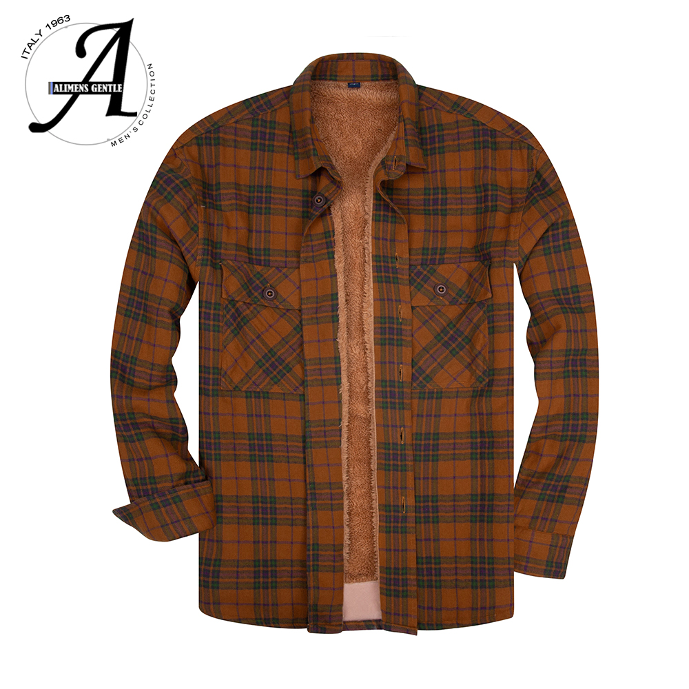 100% Cotton Long Sleeve Plaid Flannel Casual Shirts Plus Velvet Thick Men's Winter Shirts Chemise Homme Camisa Social Masculina