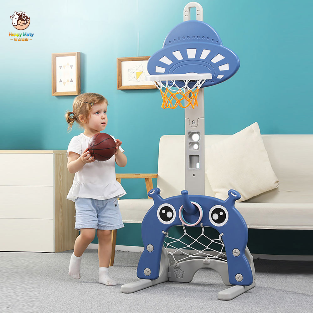 Happymaty Children Indoor Basketball Stand Lifting 1-6 Years Baby Home Sports Shooting Toy Ball Baby Shooting Frame  H01