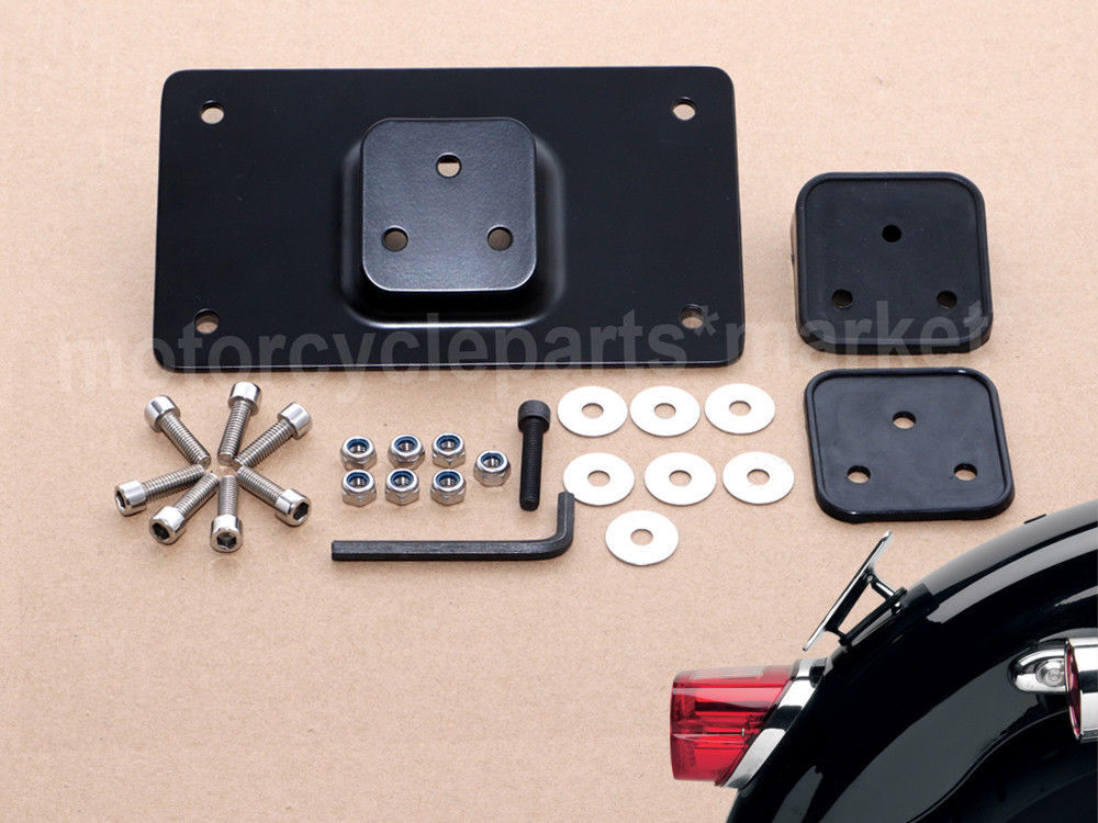 Mounting-Bracket License-Plate Harley Sportster Black for Dyna Big Twins with Similar title=