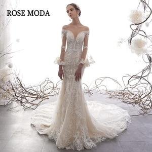 Image 1 - ローズモーダ見事なロングスリーブレースマーメイドウェディングドレス 2020 の Beadings 自由奔放に生きるウェディングドレスカスタム