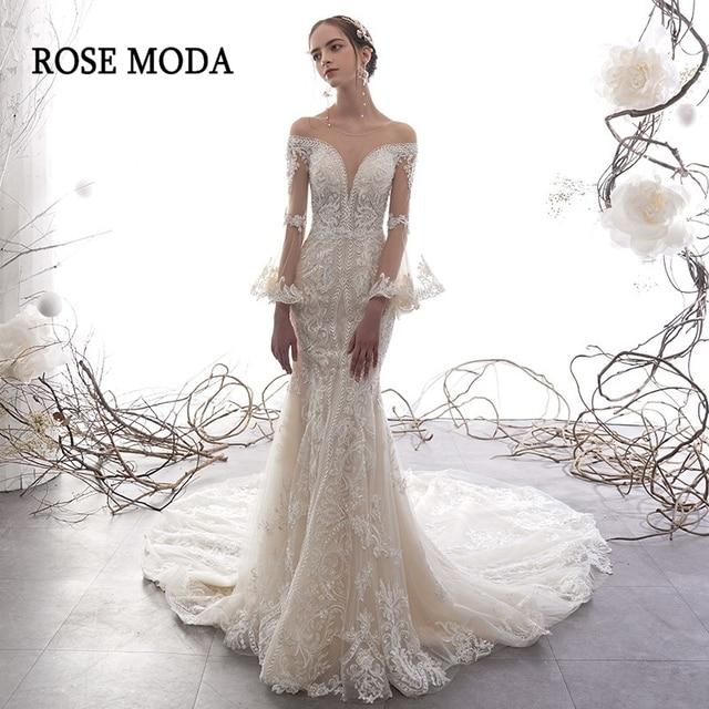 ローズモーダ見事なロングスリーブレースマーメイドウェディングドレス 2020 の Beadings 自由奔放に生きるウェディングドレスカスタム