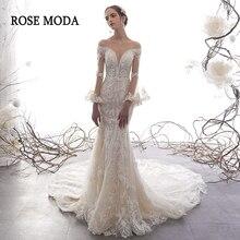 Robe de mariée sirène Rose Moda à manches longues avec dentelle, robe de mariée sur mesure, style Boho, avec perles, 2020