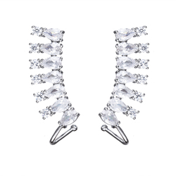 Distinctive Design Female In Bridal Party Symmetrical Cubic Zircon With Differernt Shape Elegant Earrings Silver Plated