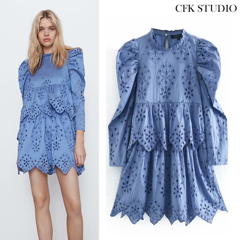 Women Summer Minidress 2020 New Fashion With O-neck Embroidery Dress Casual Long Blue Dress Vestidos