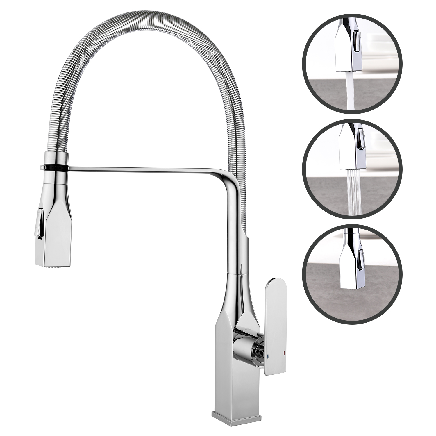 Kitchen Faucet Dual Spray Mode Single Handle Bathroom Sink Faucet Ceramic Valve 360 Degree Swivel Basin Faucet Kitchen Water Tap
