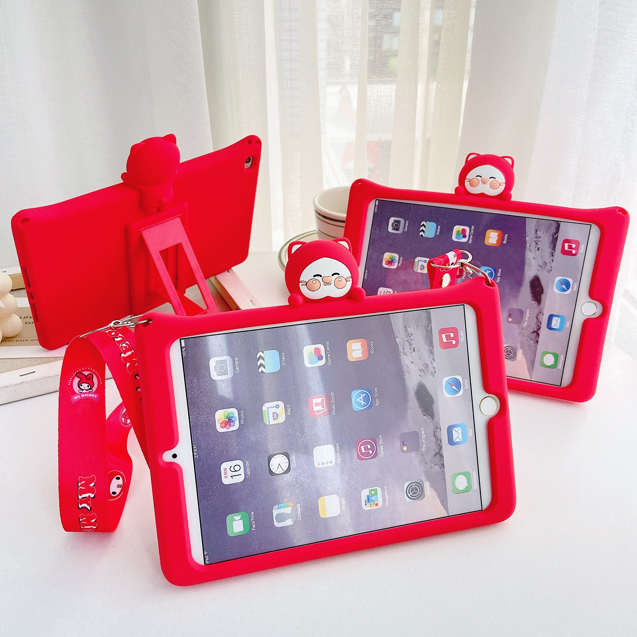 Case For <font><b>iPad</b></font> <font><b>9.7</b></font> <font><b>2017</b></font> 2018 5th 6th 7th 10.2 <font><b>Pro</b></font> <font><b>9.7</b></font> 10.5 11 Air Cartoon Kids Cover For Mini 1 2 3 4 5 Silicon Funda + strap image