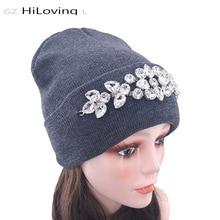 Winter Women Rhinestones Beanies Hats 2019 New Novelty Cotton Skullies