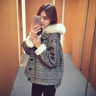 Lambs Wool Cropped Jacket Women's Fall And Winter Clothes South Korea Short-height Fur Collar Hooded Plaid Ulzzang Woolen Coat