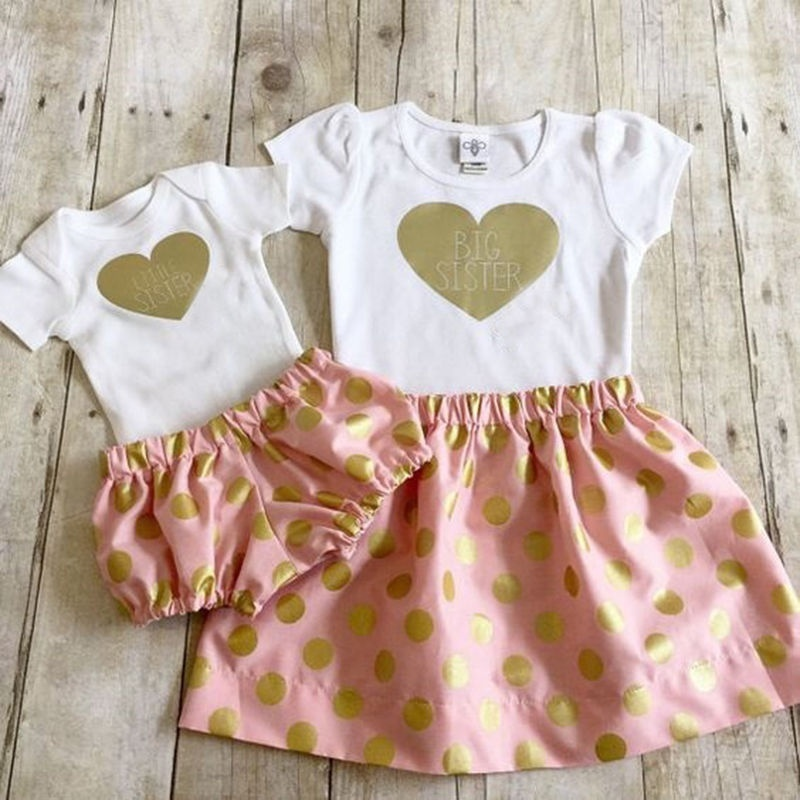 Little Sister And Big Sister Matching Outfit 2 Piece Short Sleeve Sequin Heart Bodysuit And Shorts Set Clothes