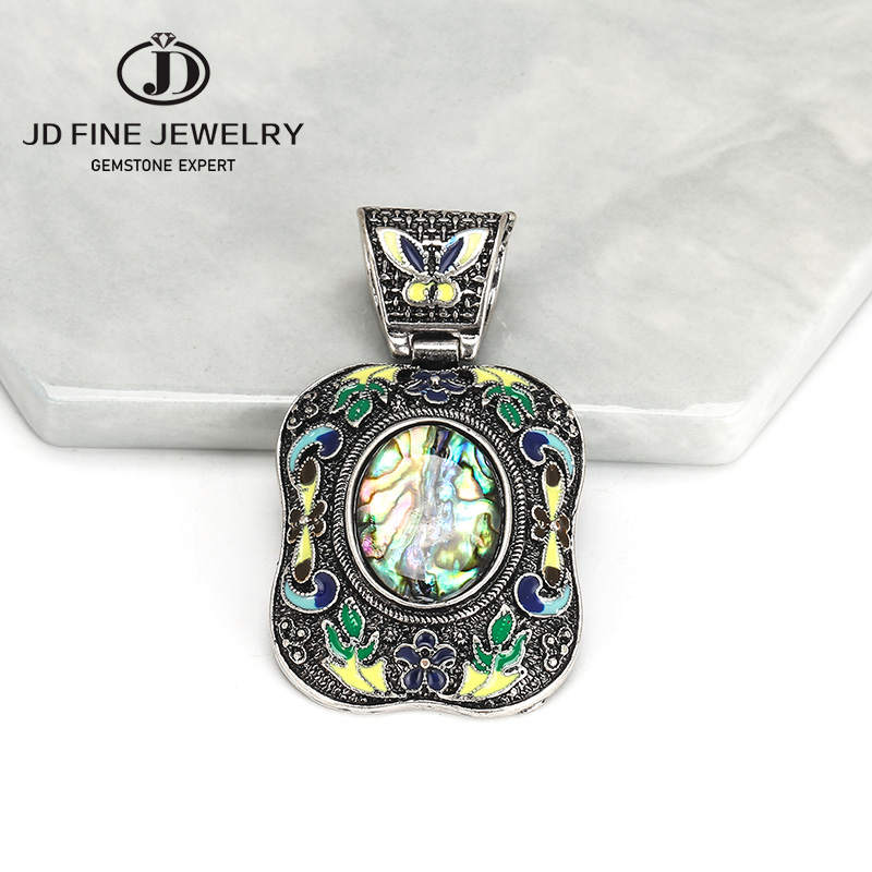 Chinese Handwork Old Tibet Silver Inlay Jade Cloisonne Flower Pendant