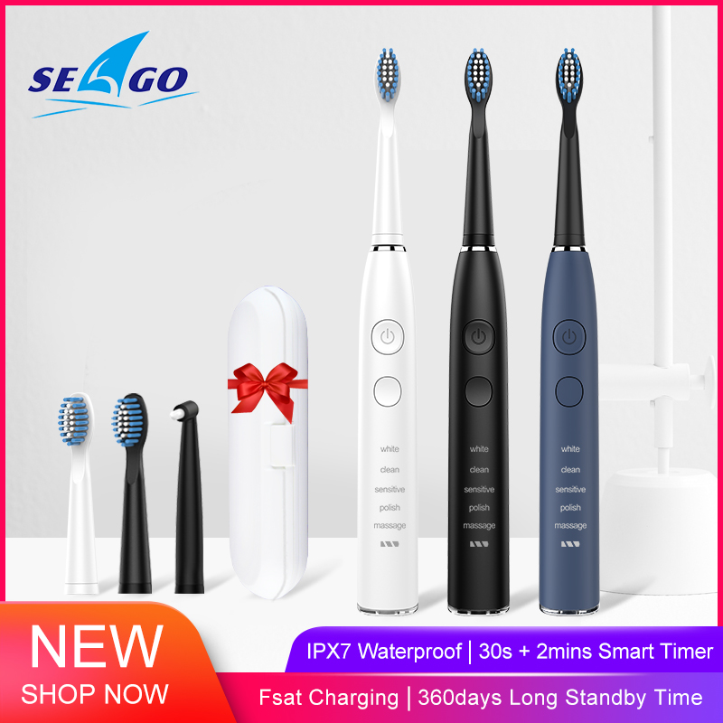 SEAGO Sonic Electric Toothbrush Upgraded Adult Waterproof USB Rechargeable With 5 Replacement Brush Head Vibrator Healthy Gift