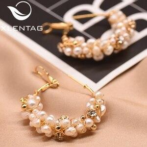 Image 3 - XlentAg 100% Natural Fresh Water Pearl Hoop Earrings For Women Wedding Engagement Handmade Fine Jewelry Aros Mujer Oreja GE0870D