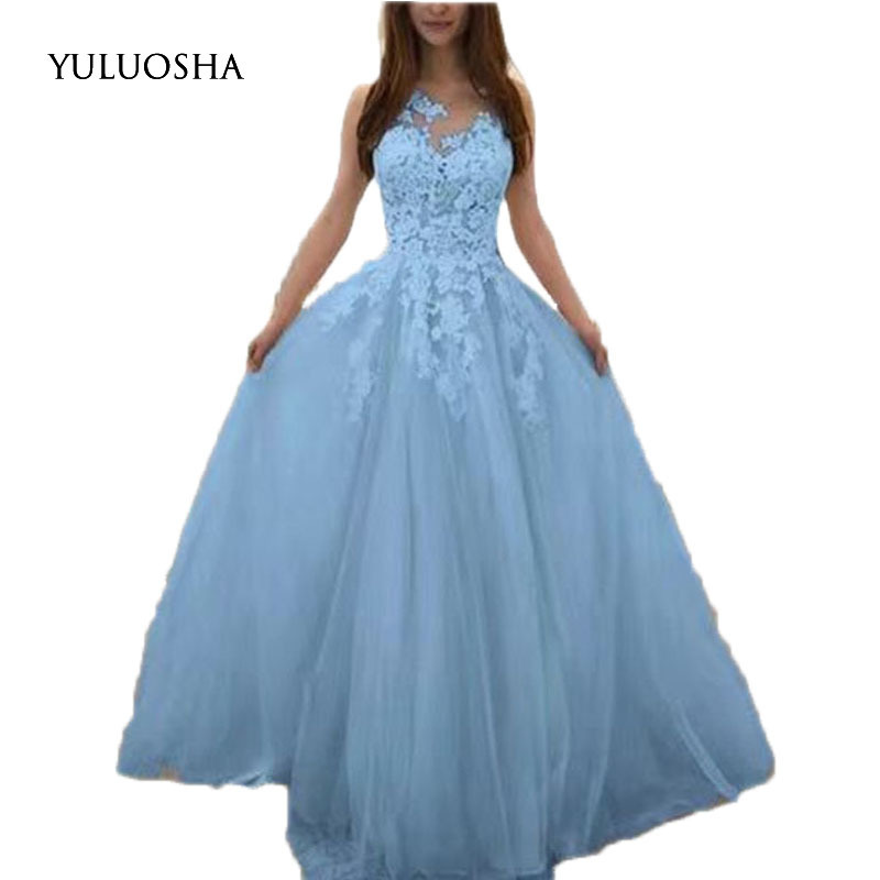 YULUOSHA Evening Dress 2020 O-Neck Sleeveless Lace Applique Evening Party Prom Formal Gowns Long Dresses Vestidos Robe De Soiree