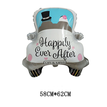 1pc Bride Bridegroom Happily Ever After MR & MRS White Wedding Car Sedan Foil Balloons Love Marriage Engagement Party Decoration image