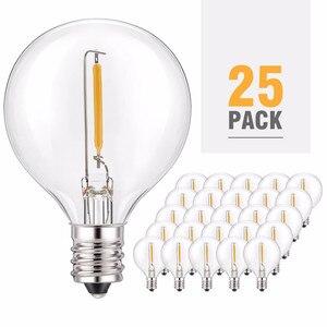 Теплый белый светодиодный G40 Сменные лампы, 25-Pack E12 Базовый разъем светодиодный круглые лампочки для наружного светящаяся гирлянда для пати...