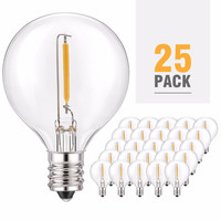 Warm White LED G40 Replacement Bulbs,25 Pack E12 Base Socket LED Globe Light Bulbs for Outdoor Patio String Lights, Equivalent t