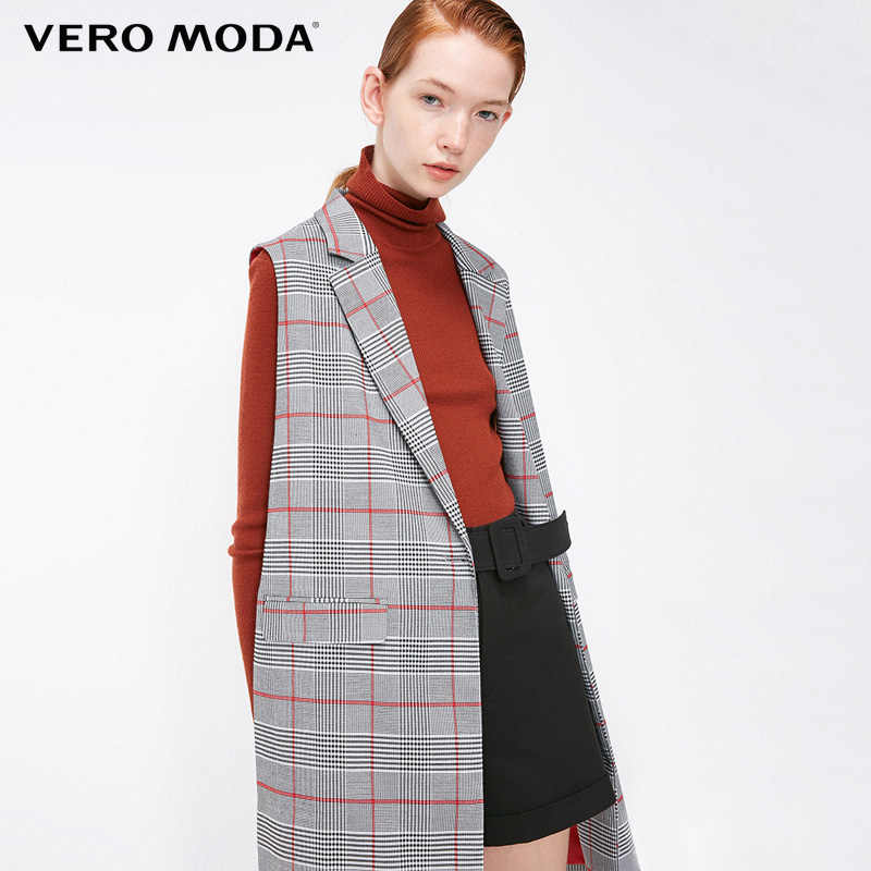 Vero Moda new office Lady Women sleeveless lapel long plaid vest | 318334502