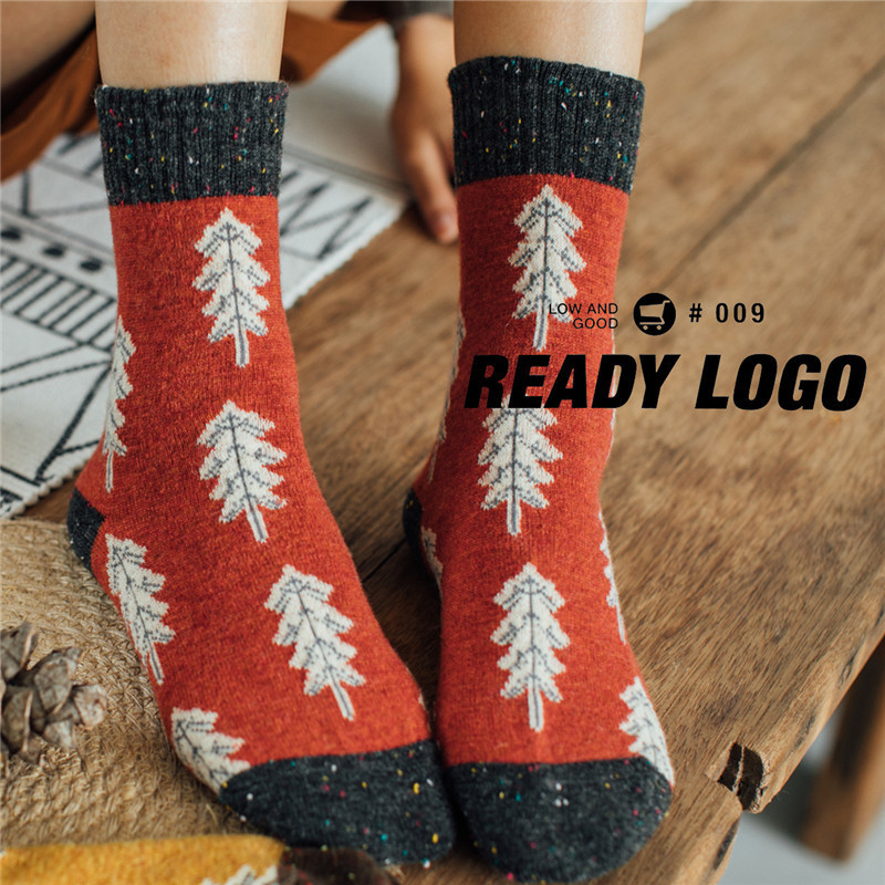 Fashion Women Socks Retro Warm Thick New Preppy Style Comfortable Printing Elastic Deodorant Antibacterial Long Wool Scoks Women