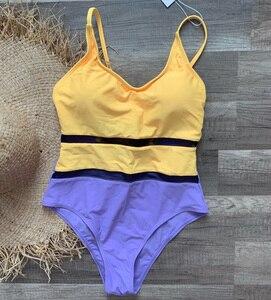 Image 5 - Riseado seksi örgü mayo kadınlar tek parça mayo 2020 sarı Patchwork mayolar kadınlar çapraz kayış Beachwear mayo