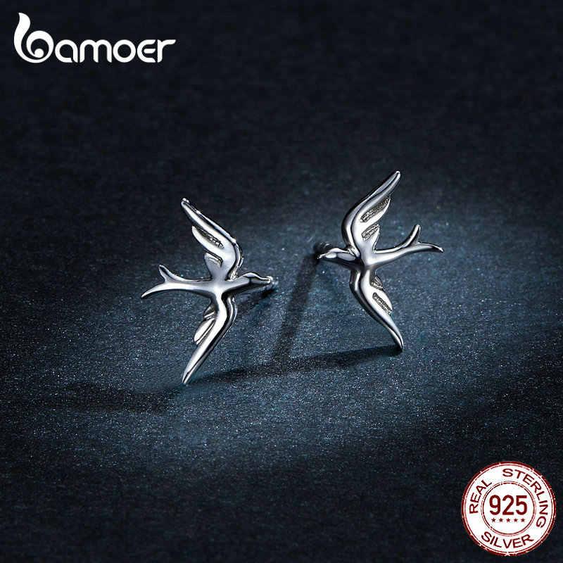 Bamoer primavera andorinha brincos para mulher 925 prata esterlina jóias vívido voar pássaro earing para a menina 2019 design bse302