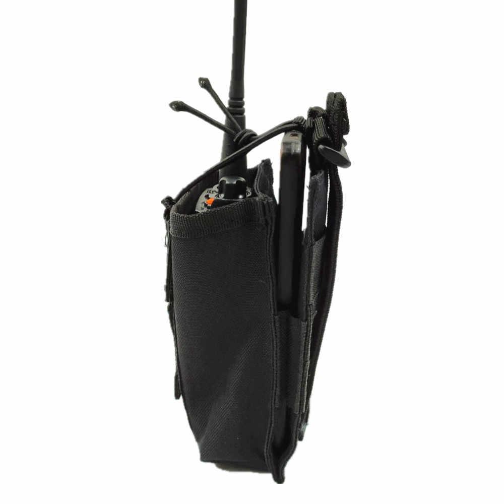 Molle-Bolsa de walkie-talkie táctica, bolsa de almacenamiento de interfono, bolsa de exterior Molle Radio para uso militar, estuche protector de walkie-talkie