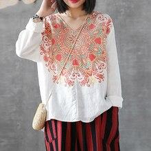 купить Summer Blouse 2019 Autumn Bohemian Floral Printed V Neck Shirt Mujer Chemise Blusas Femme Casual Long Sleeve Tunic Tops дешево