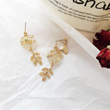цена на Fashion Stud Earrings Vintage  Pattern Leaf Asymmetric Tassel Earrings Jewelry Women Accessories Statement Girl Gift