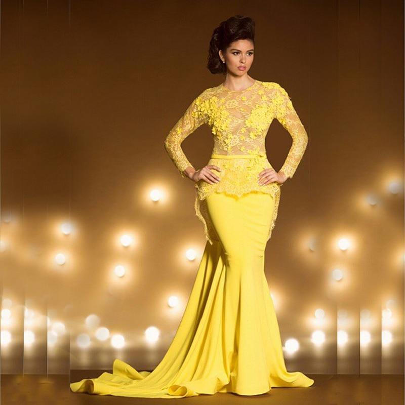 Vestido De Festa Longo Yellow Lace Mermaid Evening Long Sleeve Prom See Through De Casamento Mother Of The Bride Dresses