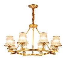 American Classical Living Room Crystal Chandelier Brass Gold Restaurant Hotel Villa Glass Bedroom Lamps