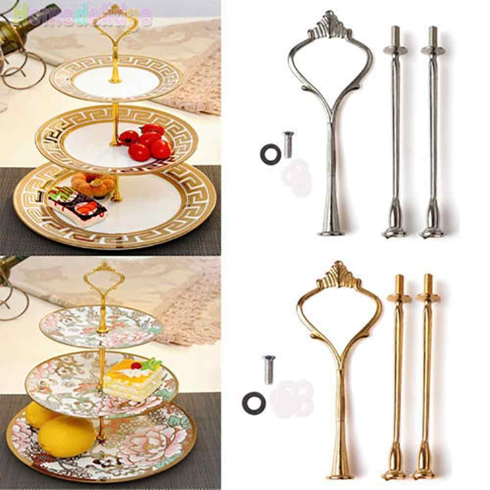 Soporte de platos para pasteles, mango de corona, soporte de exhibición para boda o fiesta, 2/3 niveles