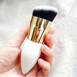 Image 4 - Saiantth Enkele Chubby Houten White Gold Make Up Kwasten Beauty Tool Foundation Brush Kegel Handvat Dichte Schuine Pincel Maquiagem