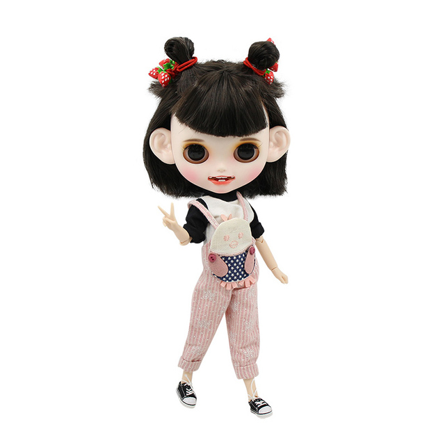 Blyth Doll 1/6 Joint Body hand painted matte face white skin black and silver short hair suit 30cm DIY BJD SD toys gift